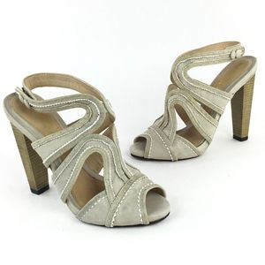 "L.A.M.B. Light Taupe 5"" Open Toe Sandals Size 7 M"